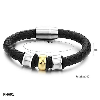 Free Shipping Fashion jewelry Stainless Steel Bracelet Black Knitted Leather Wire Slippy Circle  Bracelets Bangles PH691