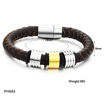 Free Shipping Fashion jewelry Stainless Steel Bracelet Brown Knitted Leather Wire Golden Circle  Bracelets Bangles PH693