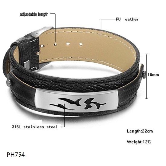 Free Shipping Fashion jewelry Stainless Steel Bracelet Buckle Black Leather Belt Silver Carven Flower Bracelet Bangle PH726(China (Mainland))