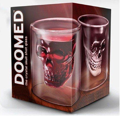 DHL Free Shipping 15pcs/lot Doomed Crystal Skull Shot Glass/Crystal Skull Head Vodka Shot Glass (2.5 ounces)(China (Mainland))