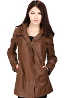 Free shipping !!!  NEW 2014 Hot sale Women fashion High-grade sheepskin Plus size Medium style leather jacket dust coat / L-4XL