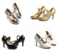 Two wear the pure color crystal paint bowknot high-heeled shoes (big yards)