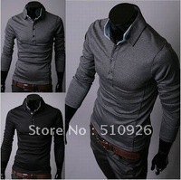 2012  NEW ARRIVAL HIGH QUALITY 100% cotton POLO Men's Casual long sleeve fit POLO shirts size M L XL XXL 2 COLORS