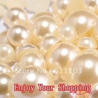 Free shipping 10000pcs 4mm beige white imitation pearls half round flatback pearls