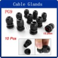 10 Pcs PG9 Black Plastic Waterproof Cable Glands Connectors(China (Mainland))