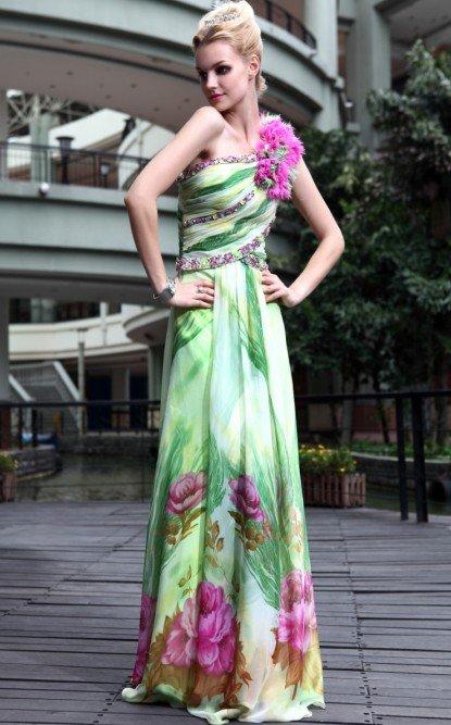Fashion Chiffon Flower Printed Evening Gown Prom Dress Free Shipping(China (Mainland))