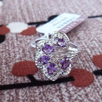 Free Shipping Genuine  Jewelry Ring,Fashion Women Ring,Amethyst Silver Ring,Quality 925 Fine Jewelry J0405102
