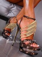 Женские сандалии Luxury Elegance Gladiator No Heels Wedge Sandals, Sexy Wedding Party High Heels Platform Shoes 16cm