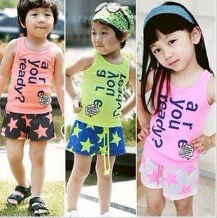 2016 new,baby clothes set infants toddler T Shirt star short boys Girls' lovely Corea style  ...
