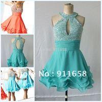 Платье знаменитостей Unique Style Sleeveless Chiffon Floor Length Ruched Designer Celebrity Dresses 2012