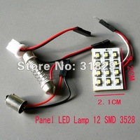 12v  Panel LED Lamp 12 SMD 3528 1210 Interior Room Dome Door Car Light Bulb with 2 Defferent Adapter