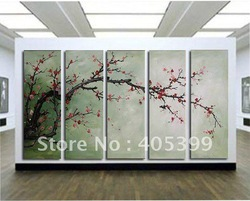 Free shipping ,5PCS Modern Abstract Oil Painting on Canvas ,Chinese Flower Oil Painting JYJLV208(China (Mainland))