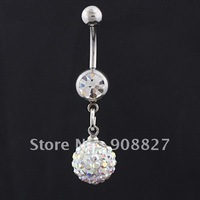2012 Hot Summer,14g~1.6mm~10mm White AB Crystal Disco Ball Charm Belly Ring,Belly Button Navel Ring Body Piercing Jewelry