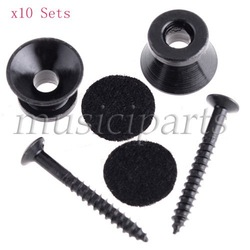 FREESHIPING wholesale 10 Sets Black Strap Lock end pin For Electric Acoustic Guitar Bass strap buttons guitar parts high quality(China (Mainland))