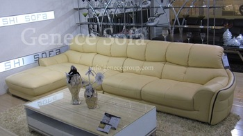 Beige Leather Sofa, Top Grain Genuine Corner Sofa, American Style Furniture