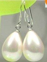 12X14mm White drip shell pearls earring