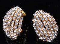 18K Rose Gold GP Crystal Stud ear clip 249