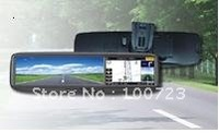 free shipping!4.3inch car GPS rearview mirror free map+Bluetooth+Dual video inputs touch screen