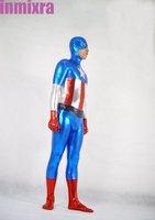 Captain America Shiny Metallic Zentai Suit Costume