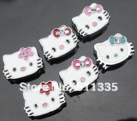 Wholesale 100pcs 8mm mix color hello kitty slide charms fit Pet Collar Wristband free shipping