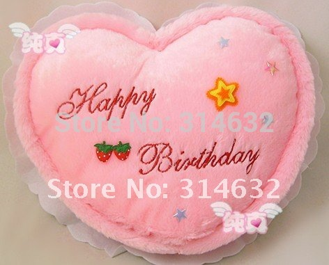 Hot Sale Fashion high-quality plush Plush light-emitting,Discoloration pillow,Colorful love birthday cake Cushion / 30 * 23CM(China (Mainland))