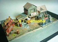 [Alice papermodel]Gas Station Garage castle Villa architecture diorama Sandbox house structure building models
