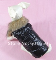 Free shipping 20pcs/lot Black Small Medium Dog Winter Vest Coat Jacket, Fur Collar Warm Clothes Dog Pet Winter Vest(XS/S/M/L/XL)