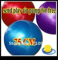 Free shipping hot good quality 75CM thicken yoga ball  fitness ball and send play air pump for free