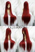 TF*62 new DARK RED LONG straight cosplay full wig 100CM