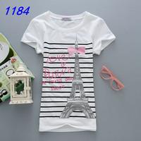 2014  New Design 100% Cotton Women Fashion Short Sleeve Women's T Shirt Printed Cartoon T-Shirts