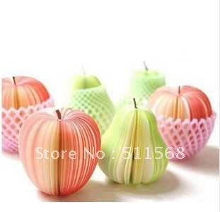 2012Special hot sell red apple and green pear note paper DIY note fruit notes paper 140 sheets free shipping 10pcs/lot(China (Mainland))