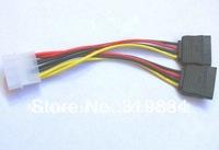 Free shipping  50pcs IDE to 2 Serial ATA SATA HDD Power Adapter Cable 4pin