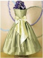 2012 Sage Strapless Hot Sale With Bow Flower Pleats Beautiful Taffeta Little Flower Girl Dress S