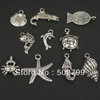 lots 60pcs Tibetan silver Mixed style Sea Animal Charms TS8004-60