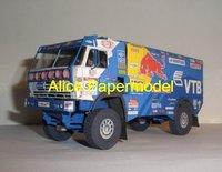 [Alice papermodel] Long 20CM 1:35 KAMAZ 4326 rally racing truck F1 car   sedan models