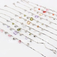 new arrival fashion chain zircon stone bracelet silver plating beaded ankle free shipping jewelry, mixed colors, 12pcs/pack
