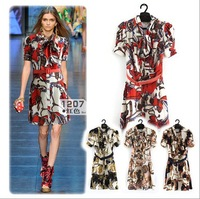 Free Shipping! 2012 National Style Fashion ladies Printing Pattern 3/4 Sleeve Silk Dress/Ladies'  Fashion Dresses