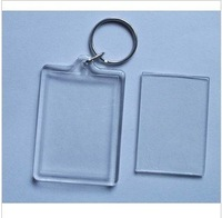 Free shipping 100pcs Blank Acrylic Rectangle Keychains Insert Photo Key rings BC02
