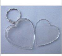Free shipping 100pcs Blank Acrylic Heart shape Keychains Insert Photo Key rings BC005