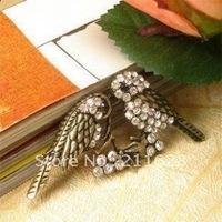Korea fashion jewelry vintage clothing love thick diamond lovers bird pin corsage