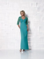 New style!Long Sleeves V-Neck Full-Length Satin Mother's dress Mother Of The Bride Dress fashion dress 2013