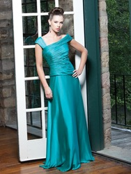 wholesales 2011 princess cap sleeves turquoise ruffle silk satin formal mother wear(China (Mainland))