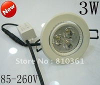 85*260v epistar 3w led downlight,ceiling light,led light with white shell free shipping
