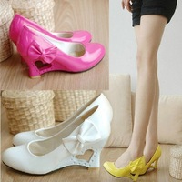 2013 New white wedge heel wedding shoe for women woman Pumps Chic Wedge Heels Cute bowknot love star red/yellow/black plus size