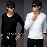 Men's clothing base  fashion wholesale man Pure color v-neck t-shirts slim fit,eight colors ,size M-XXL