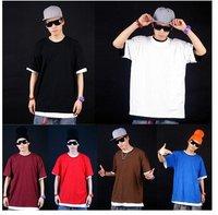Free Shipping men's boy's t-shirt short sleeve hip hop  t shirt  fat men plus size large tees