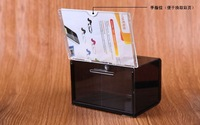 acrylic name card collecting  box case with lock