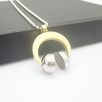 Free shipping +Wholesale Stainless Steel Gold Headphone Chain Pendant Necklace  New Cool Gift Item ID:3541