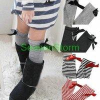 [CPA Free Shipping] Wholesale Kids Fashion Bowknot KneeHigh Cotton Tube Socks 6 Colors 24 pair/lot (SY-47)