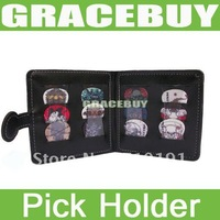 Portable Guitar Bass Rock Pick Leather Holder Case Bag Free 12 Picks 0.5 0.8 1.0 1.14 Mixed Plectrum